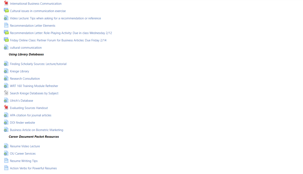 This image is a screenshot of the main classroom page with links to various information for the class. They are divided into sections by headers.