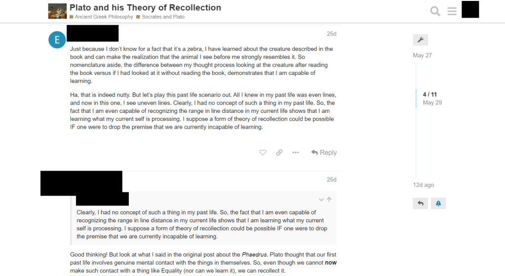 This image shows the inside of a singular thread, with the title at the top. Within it there is a student giving his response to the thread at hand, and a second comment by the professor responding to some of his claims.